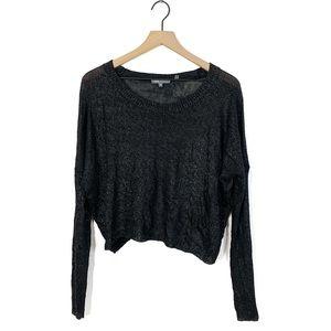 Vince Metallic Coates Boxy Knit Rayon Sweater XS